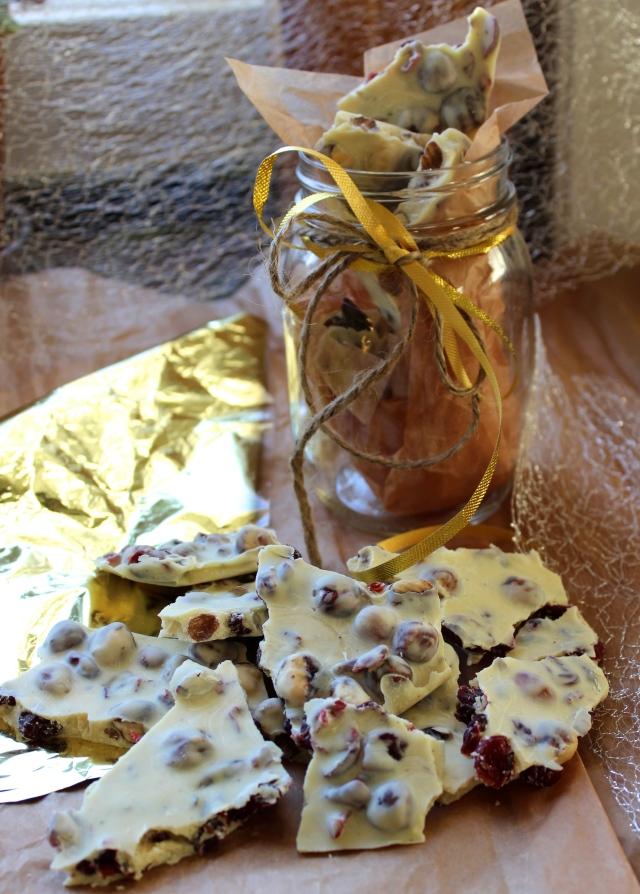 Cranberry Hazelnut White Chocolate Bark | Blue Owl Treats