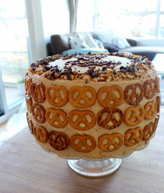 Chocolate Pretzel Peanut Butter Layer Cake | Blue Owl Treats