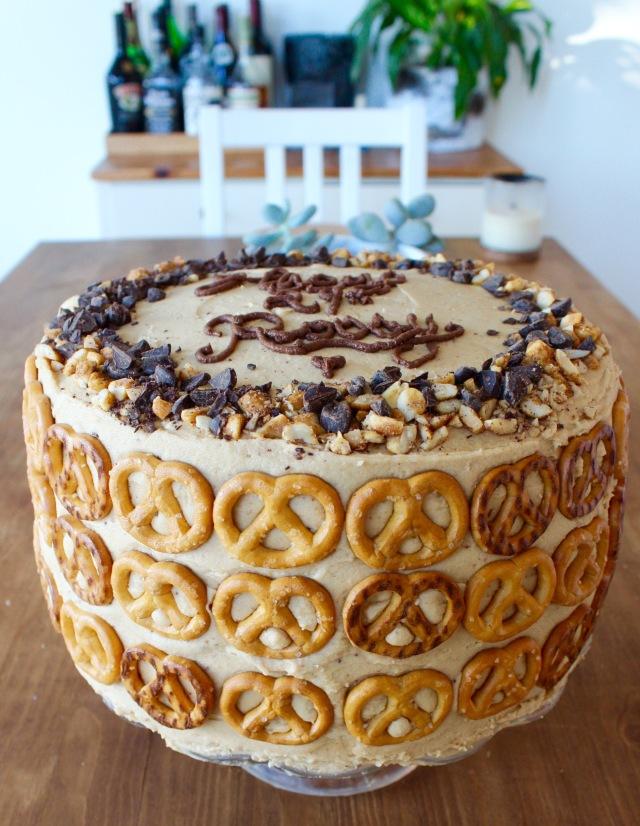 Chocolate Pretzel Peanut Butter Layer Cake | Blue Owl Treats