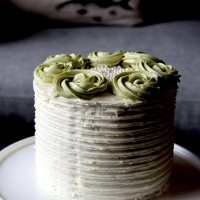 Matcha Green Tea Cake with White Chocolate Buttercream and Raspberry Coulis